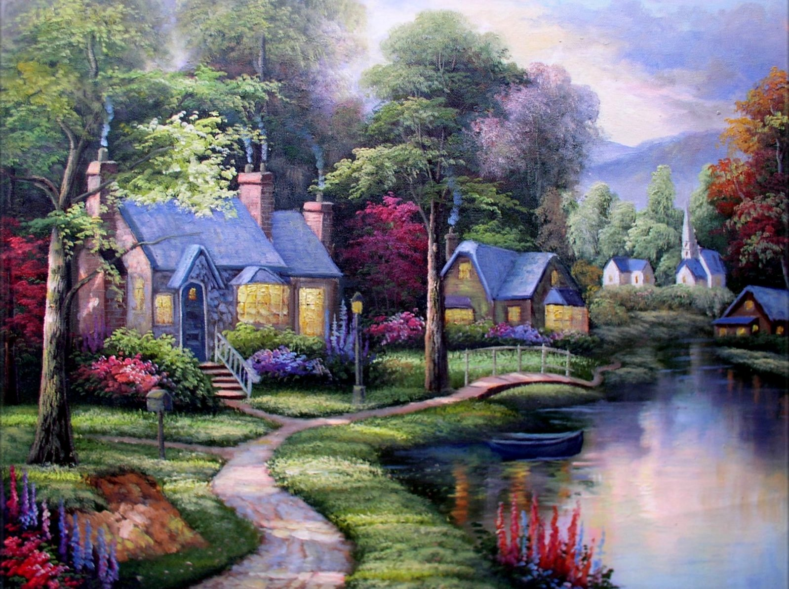 Stretched quality hand painted oil painting brookside for Brookside cottages