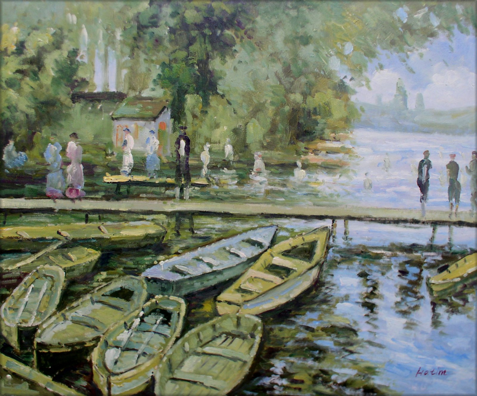 Hand Painted Oil Painting Repro Claude Monet Bathers at La ...