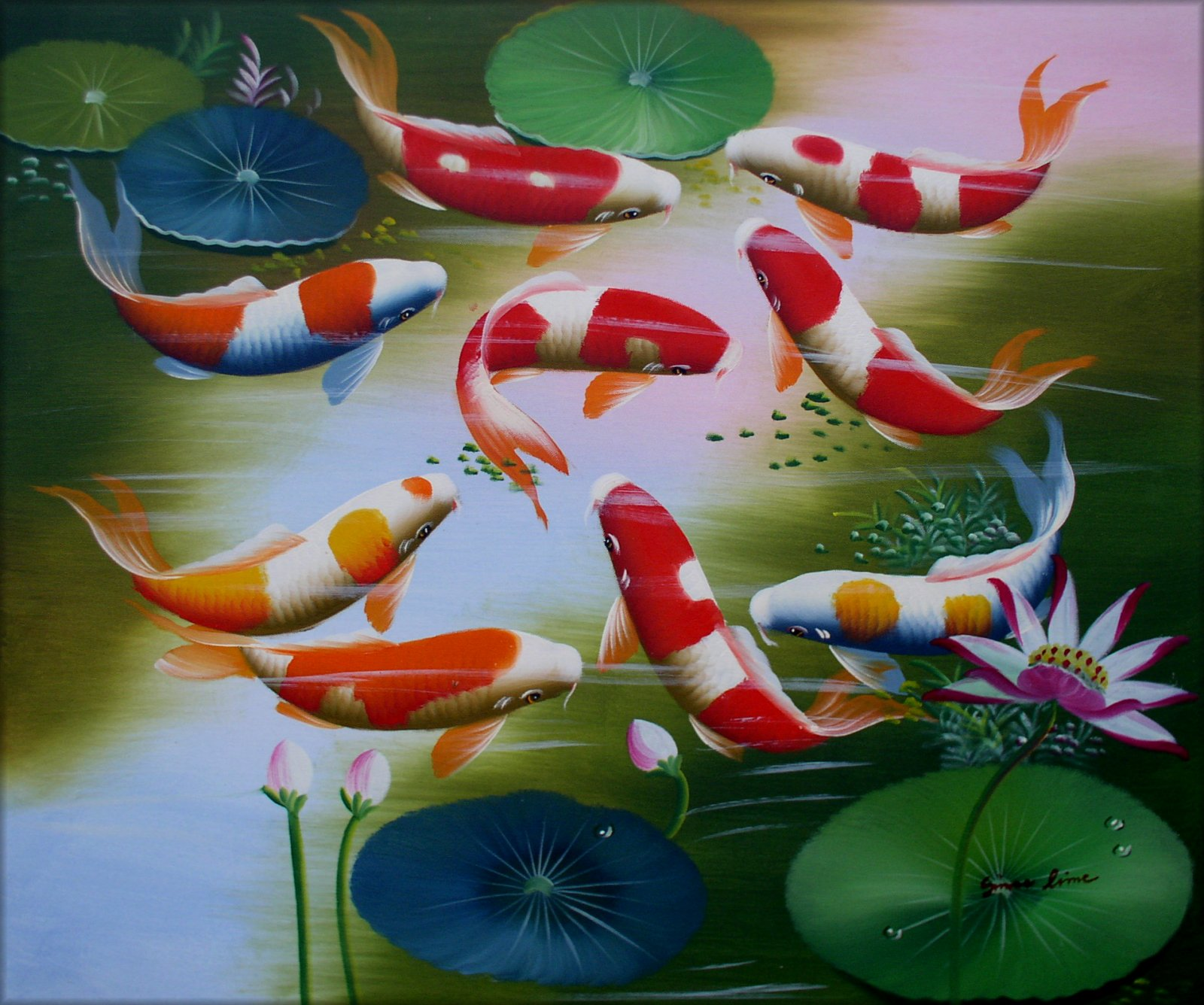Framed koi carp pond hand painted oil painting 20x24in for Koi carp pond depth