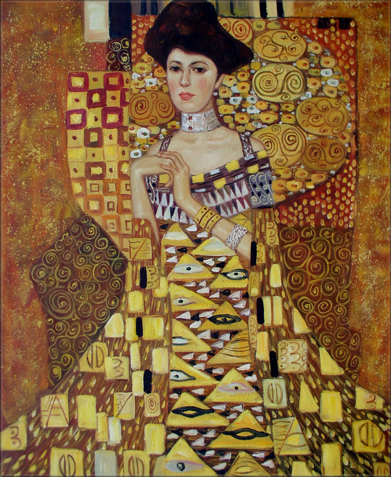framed gustav klimt portrait of adele bloch bauer i repro oil painting 20x24in ebay. Black Bedroom Furniture Sets. Home Design Ideas