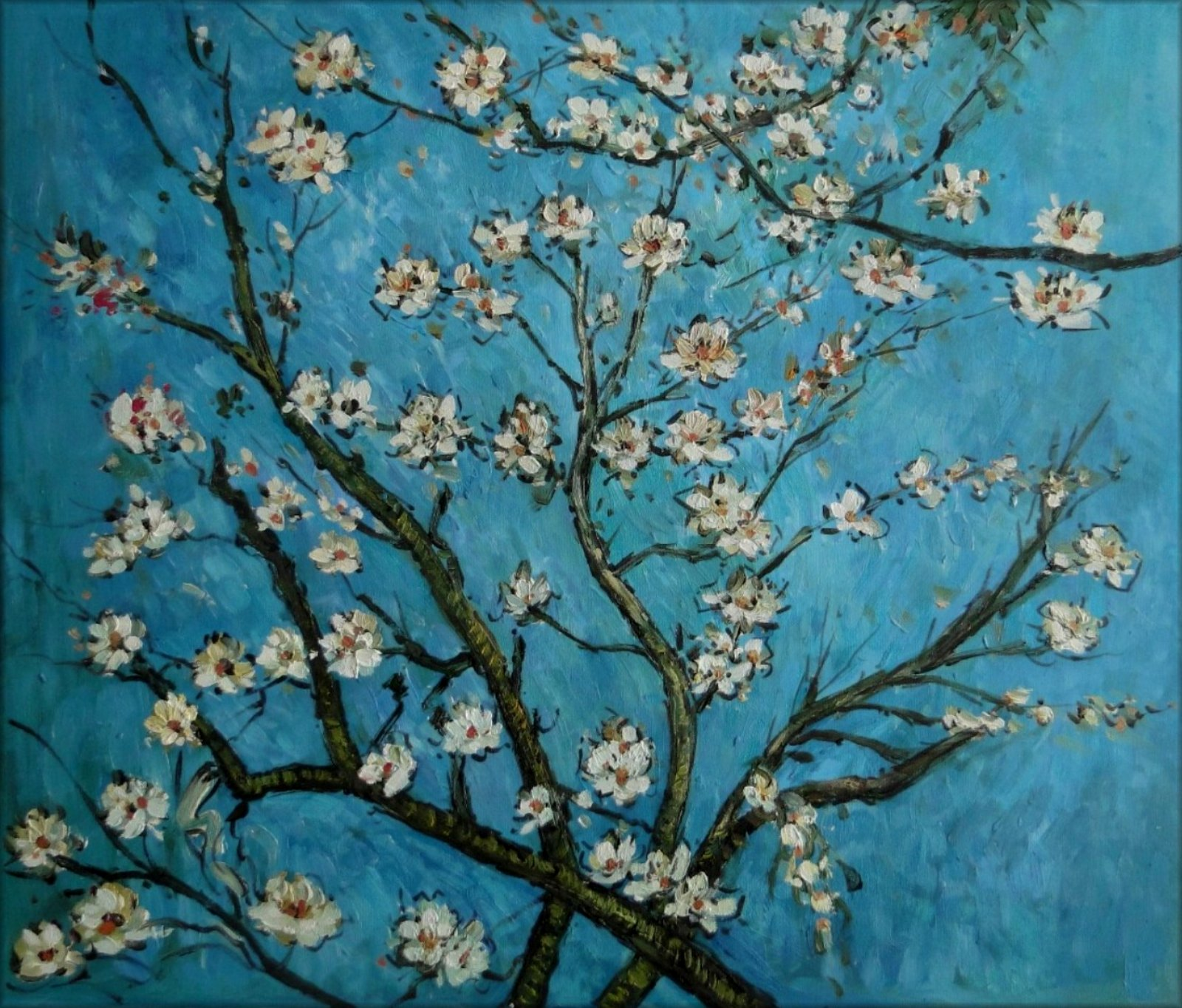 Framed, Van Gogh Almond Blossom Repro, Hand Painted Oil ...
