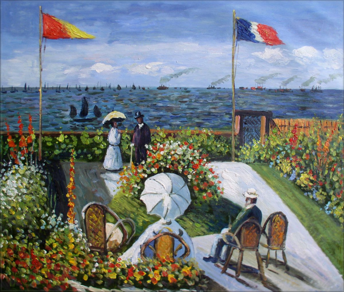 Hand Painted Oil Painting Repro Claude Monet Garden At