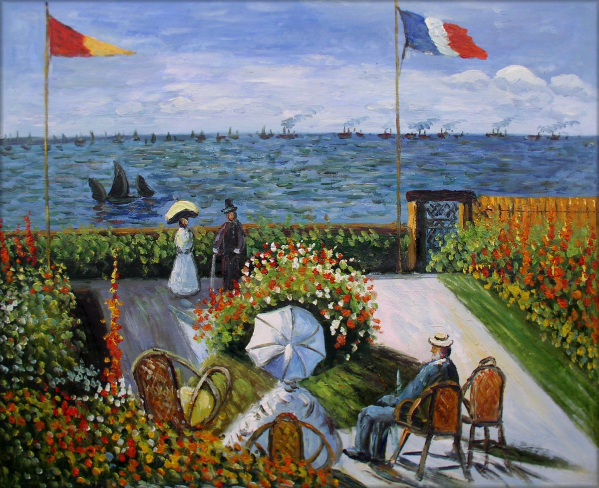 Framed Claude Monet Garden At Sainte Adresse Hand