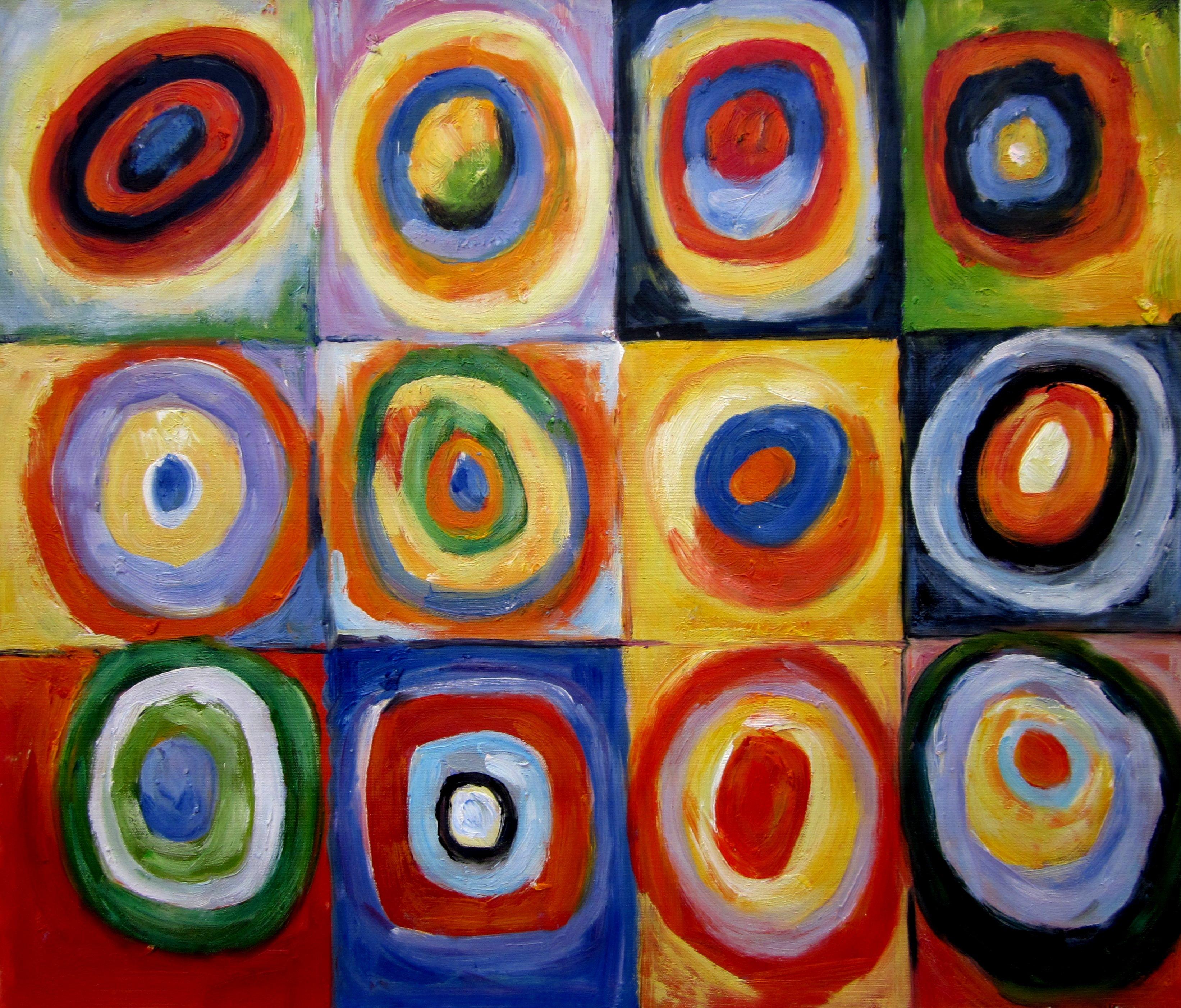 Kandinsky Squares w/ Concentric Circles Repro, Hand ...