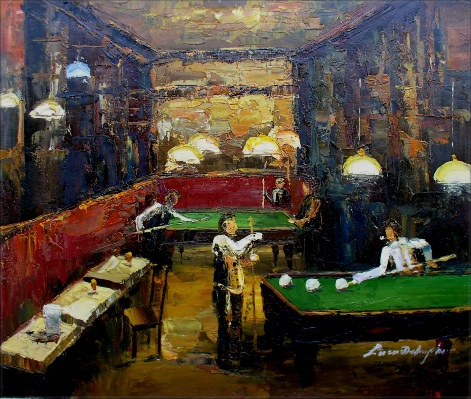 Framed People Playing Pool Table Hand Painted Oil Painting 20x24in