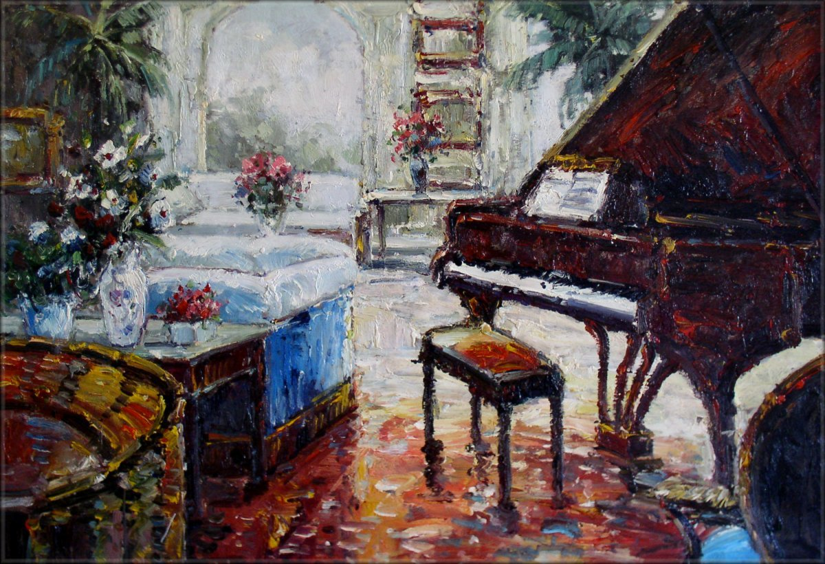 Framed Hand Painted Oil Painting Grand Piano In Living