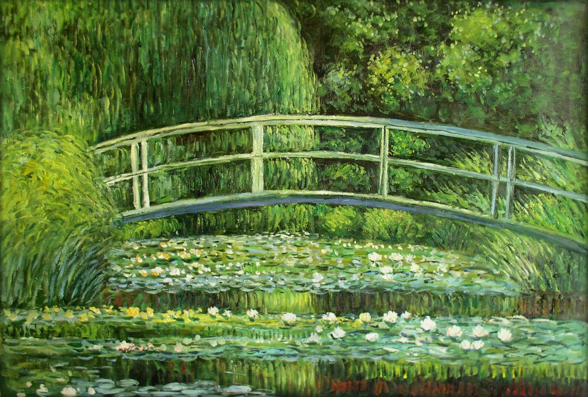 bridge over a pond of water lilies by claude monet Monet bridge and water lilies scarf,in 1893, claude monet (french, 1840 - 1926), a passionate horticulturist, purchased land with a pond near his property in giverny, intending to build something for the pleasure of the eye and also for motifs to paint the result was his water-lily garden in the summer of 1899 he completed twelve paintings of views of the wooden footbridge over the pond.