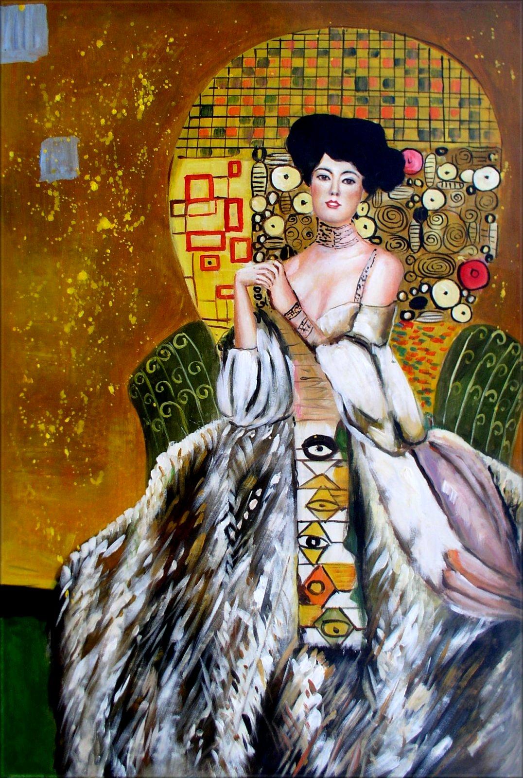 gustav klimt adele bloch bauer repro hand painted oil painting 24x36in ebay. Black Bedroom Furniture Sets. Home Design Ideas