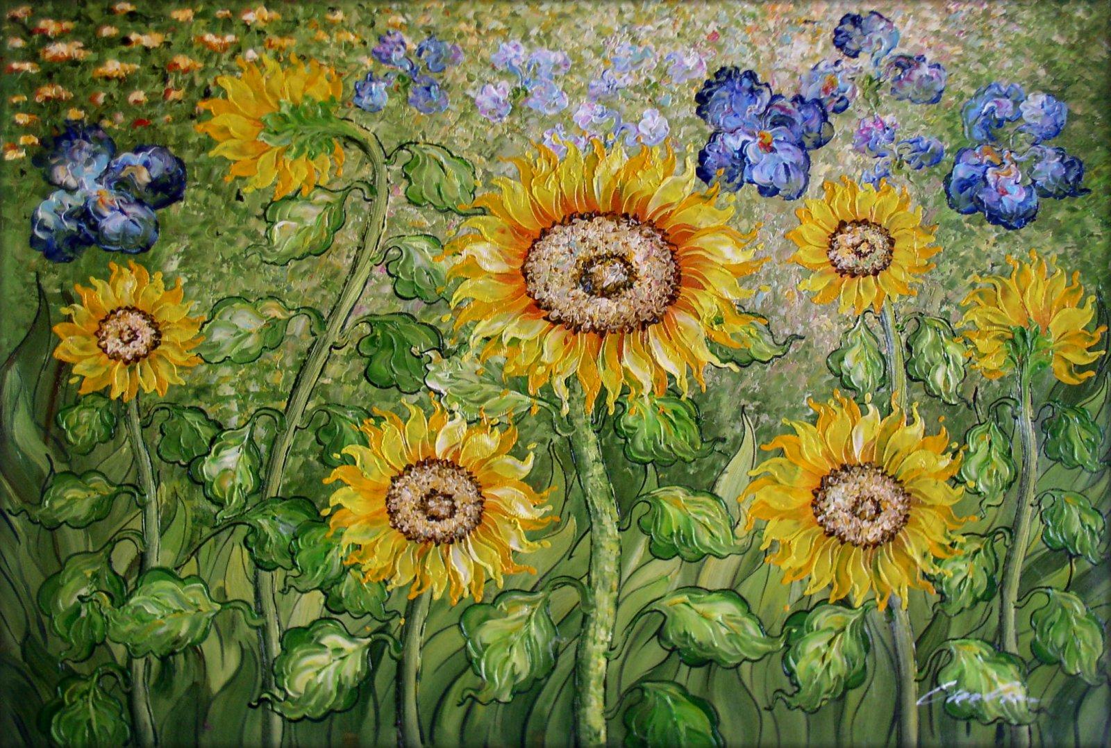 Framed Van Gogh Sunflowers & Irises Field Hand Painted Oil Painting 24x