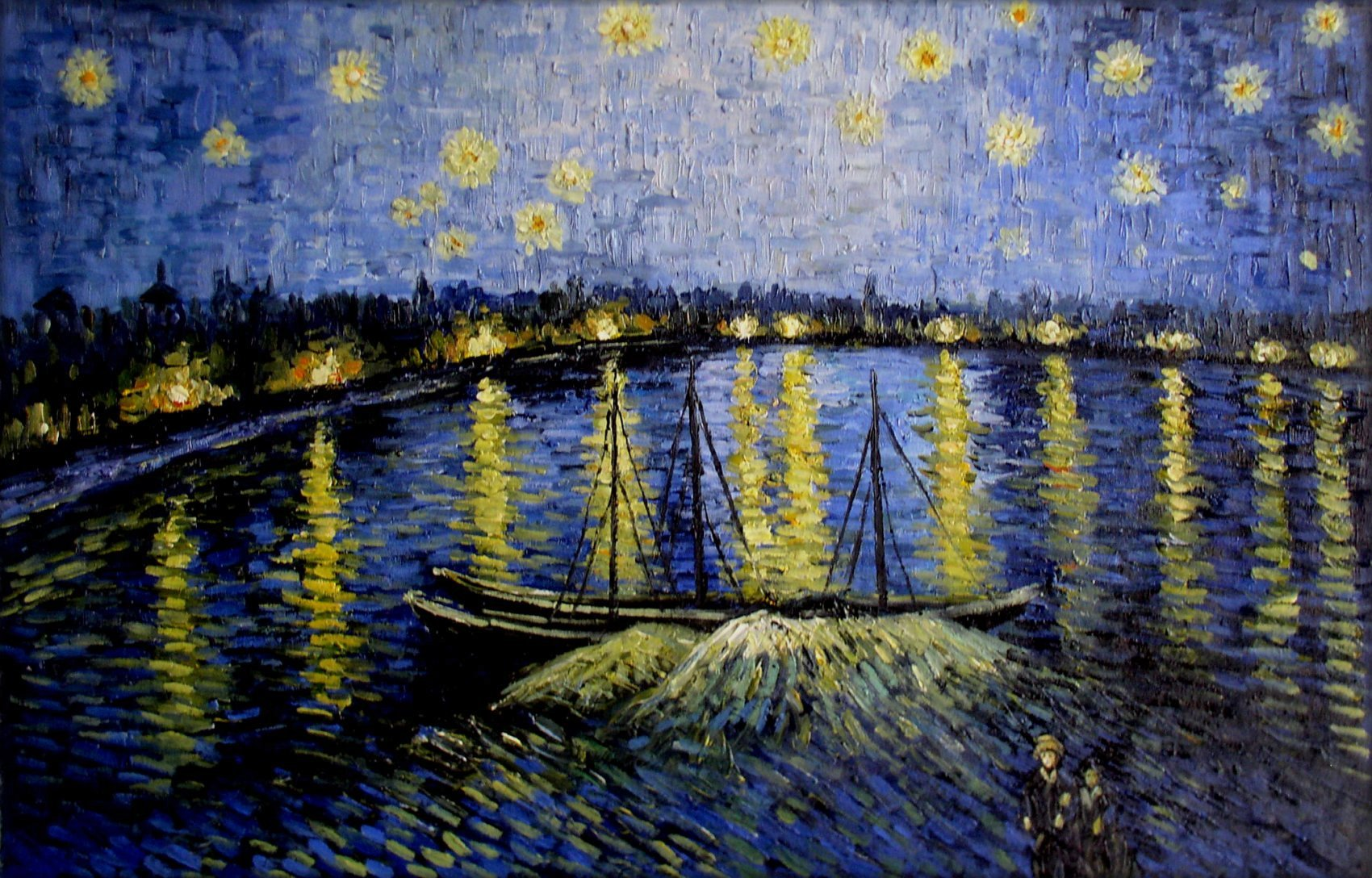 van gogh starry night over the rhone repro hand painted. Black Bedroom Furniture Sets. Home Design Ideas