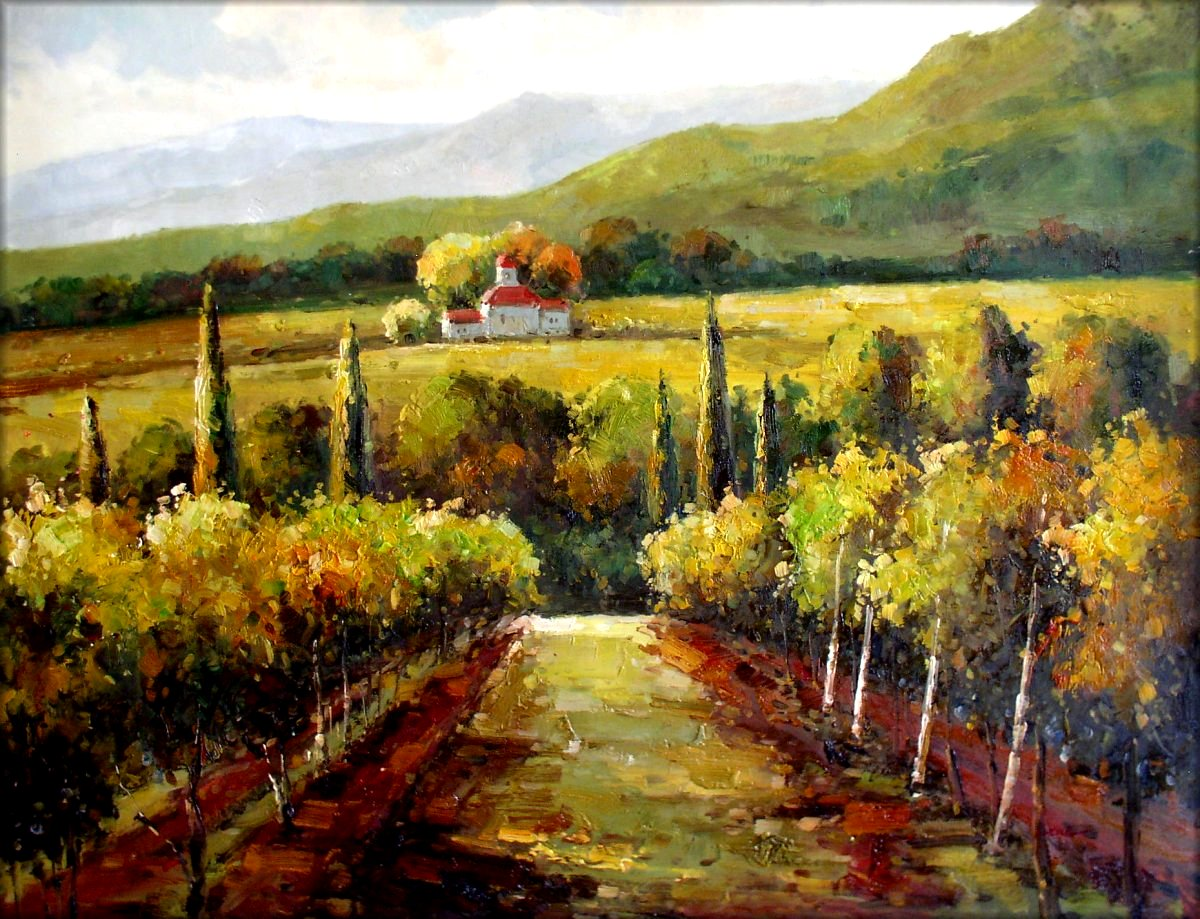 Vineyard In Tuscany Italy Quality Hand Painted Oil