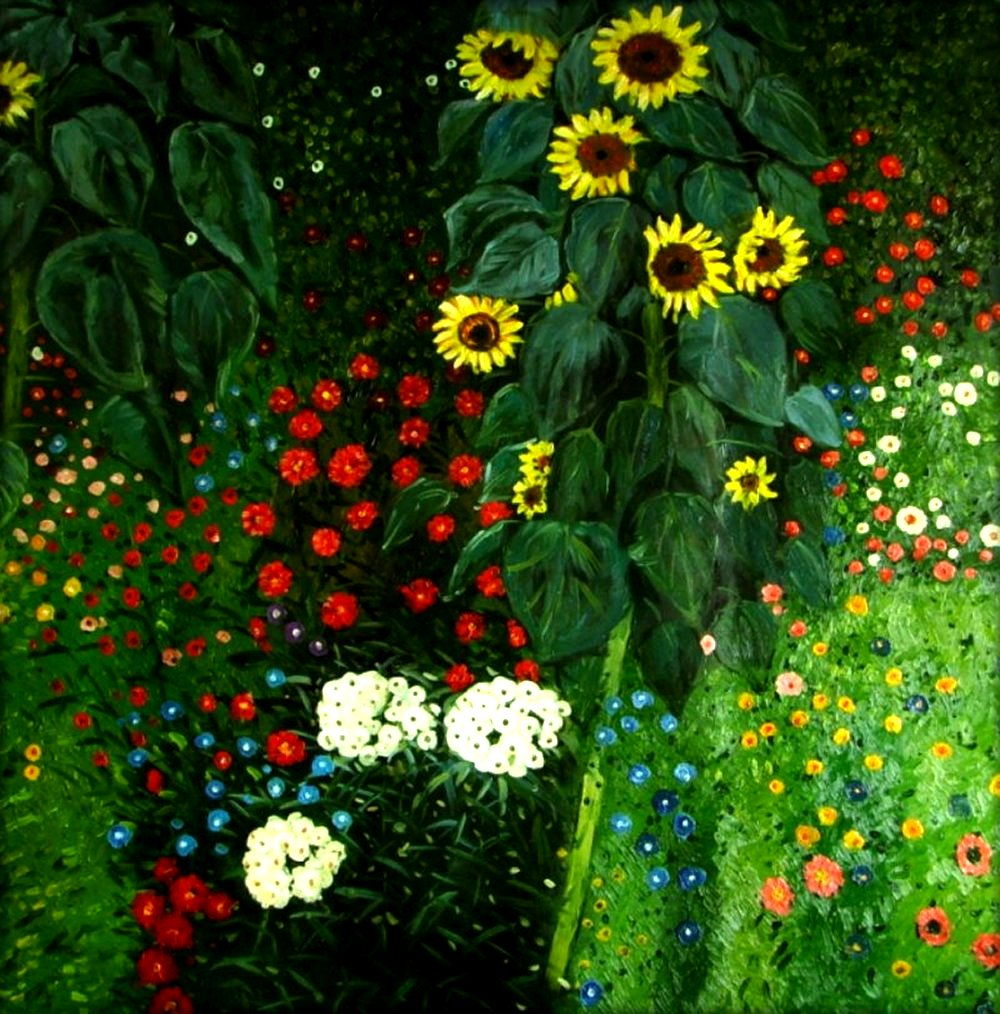 Details About Hand Painted Oil Painting Repro Gustav Klimt Garden With Sunflowers 36x36in
